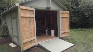 Here's his shed . . . stable, imposing, sturdy. Is this a metaphor for male, or what?