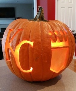 The Halloween pumpkin my son carved this year was frequently photographed by trick-or-treaters' parents.